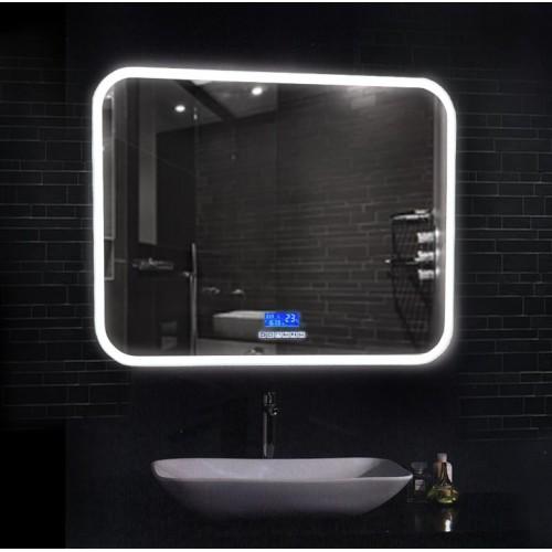Зеркало в ванную комнату с подсветкой, часами и музыкой Армани